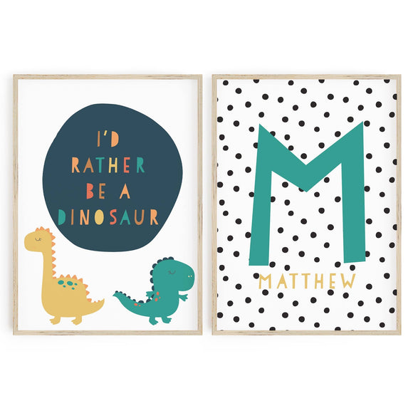 I'd Rather be a Dinosaur // Monogram duo