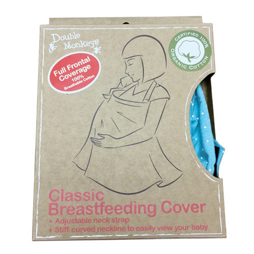 Double Monkeys - Organic Classic Breast Feeding Cover (Turquoise w/ Dots) <br> 掛帶式授乳有機圍巾 (綠松石色 + 波點)
