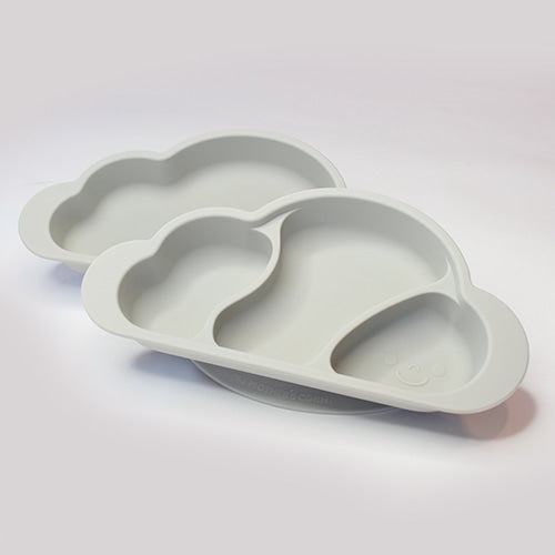 Gureumi Suction Cloud Plate (2pcs) - Grey / 微笑雲吸盤碟 (2件) - 灰色