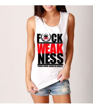 Unisex Deep Cut Muscle Tank - F*ck Weakness