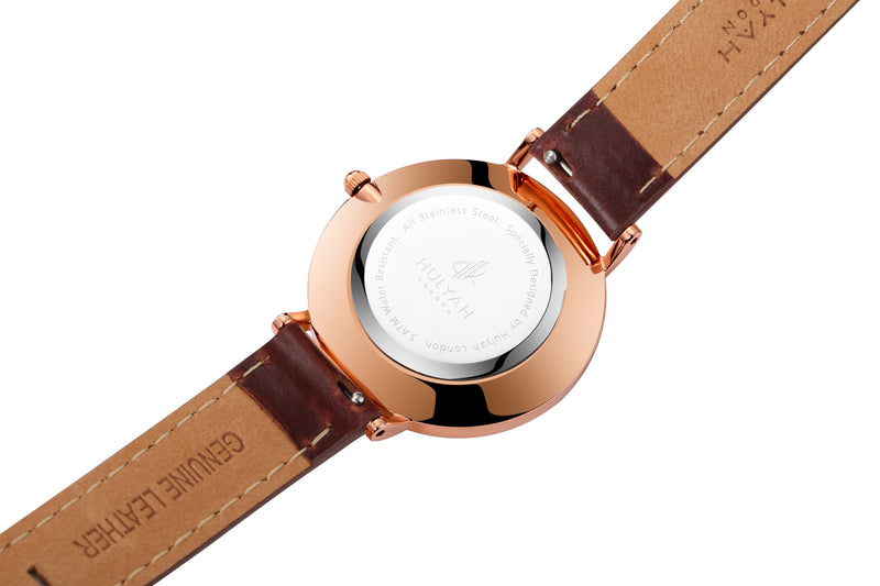 Rosegold  C1 Leather Arabic Watch