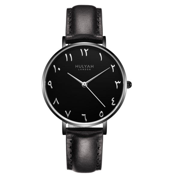 Black Black  C6 Leather - Arabic Numeral Watch