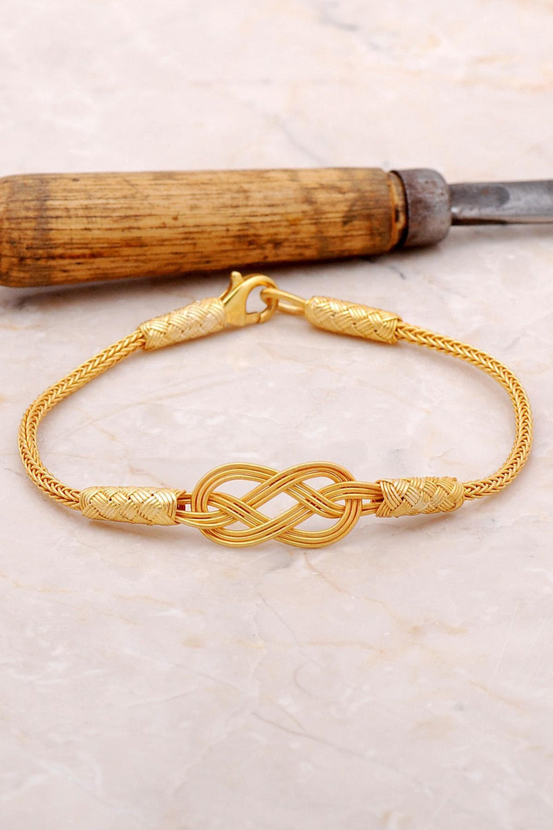 Ancient Mesopotamian Infinity 100% Handmade-Kazaziye Teqnique Original 24K Gold Plated Silver Bracelet Active