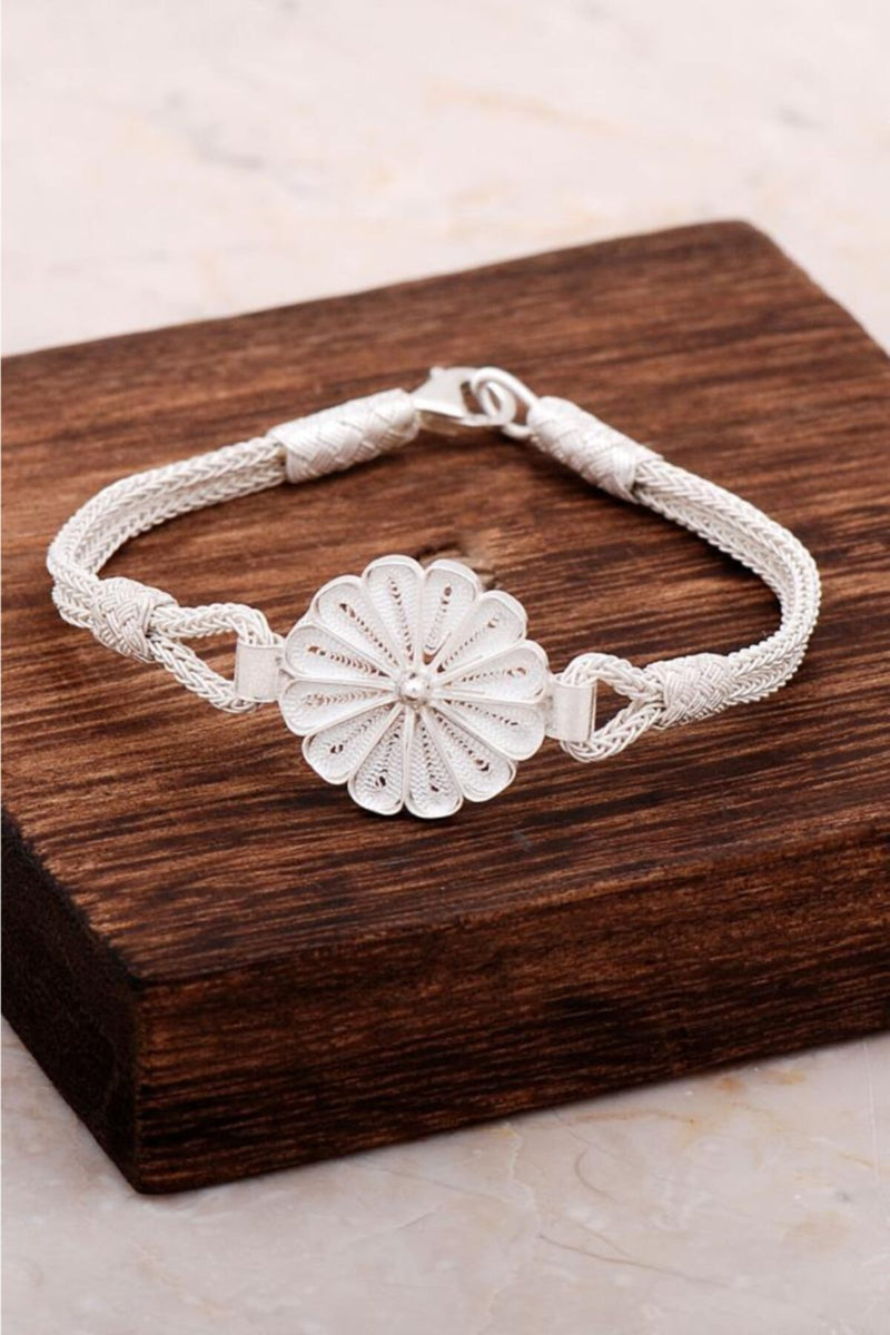 Daisy Ancient Mesopotamian Design 100% Handmade-Kazaziye Teqnique Original 24K Gold Plated Silver Bracelet Active
