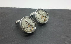 Clockwork Cufflinks, Moving Parts With Glass Face