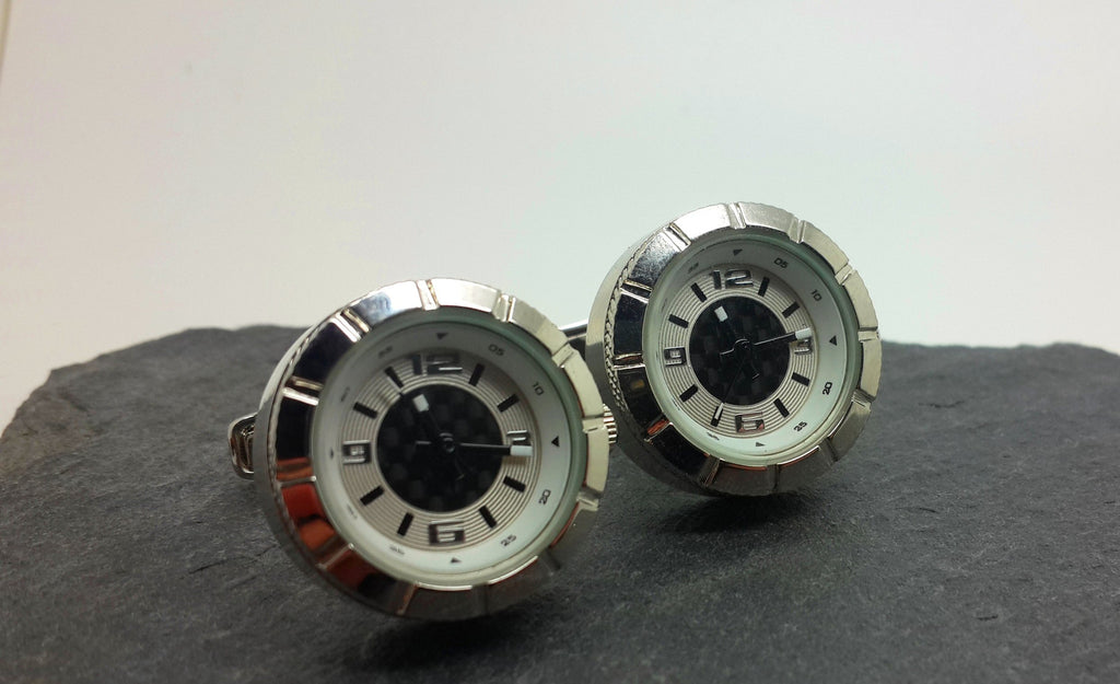 Clockwork Cufflinks With working clockface