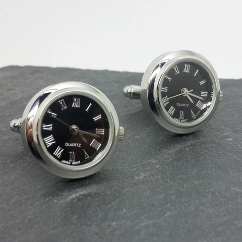 Clockwork Cufflinks With working Roman numeral clock face