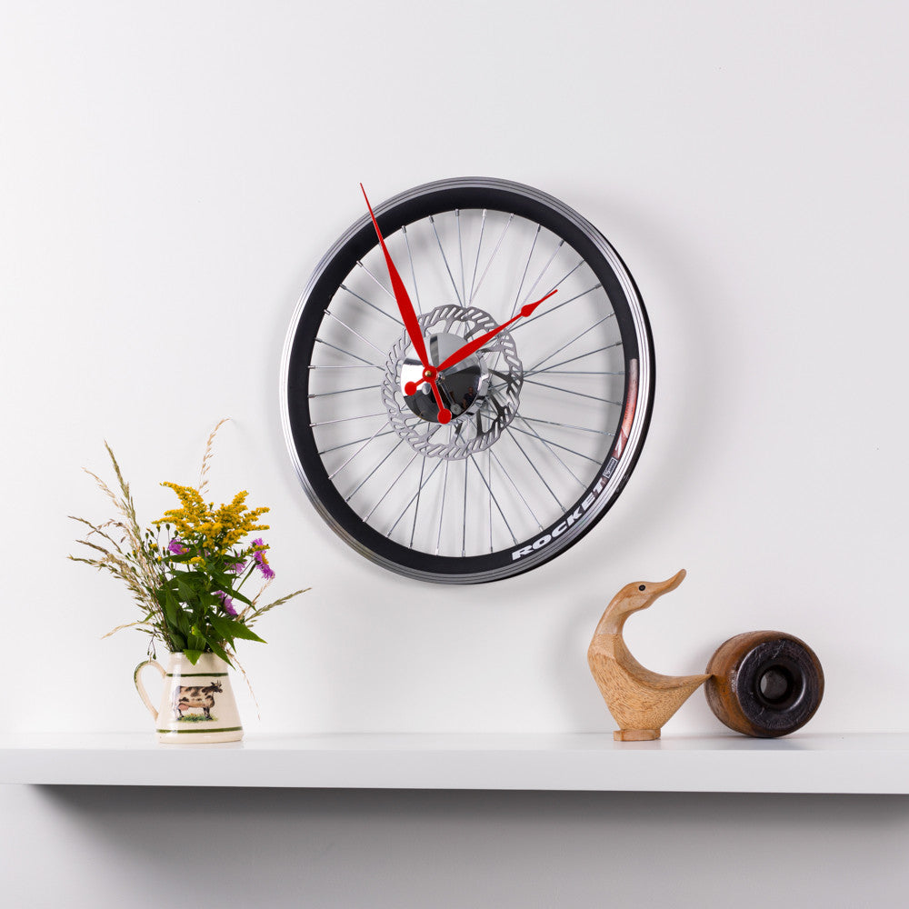 Racing Bike Wheel Clock With Brake Disc Small