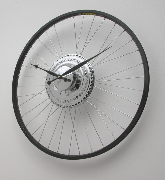 Bike Sprocket Wheel Clock black rim