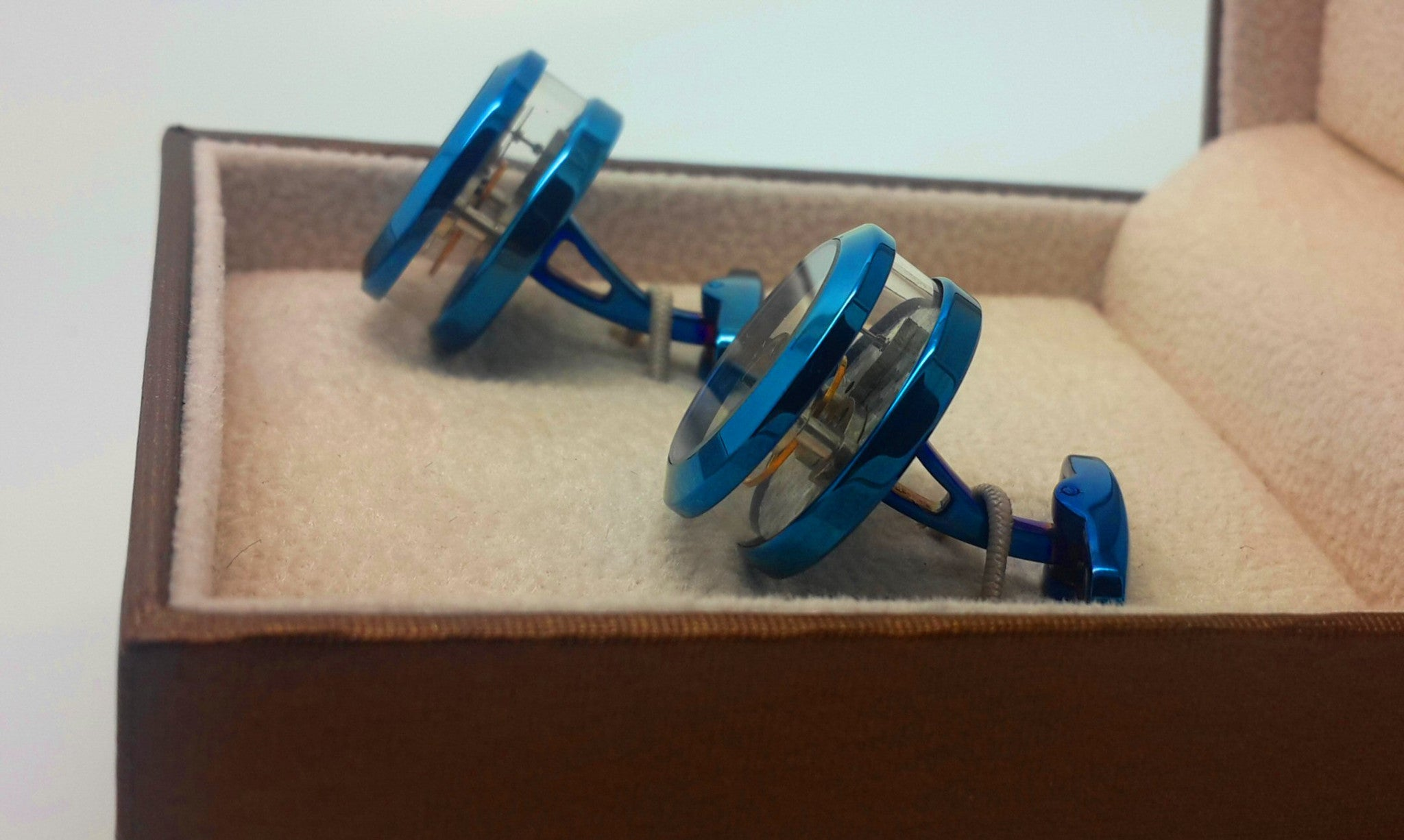 Tourbillon Clock Mechanism Cufflinks in blue with clear sides