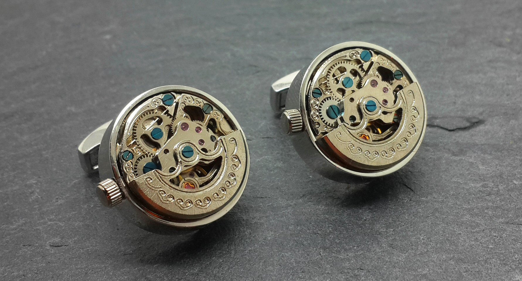 Working Clockwork Cufflinks With Crescent Decoration