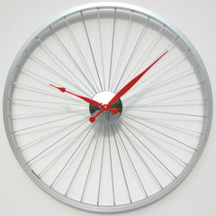 Bike wheel clock 23 inches Red Hands