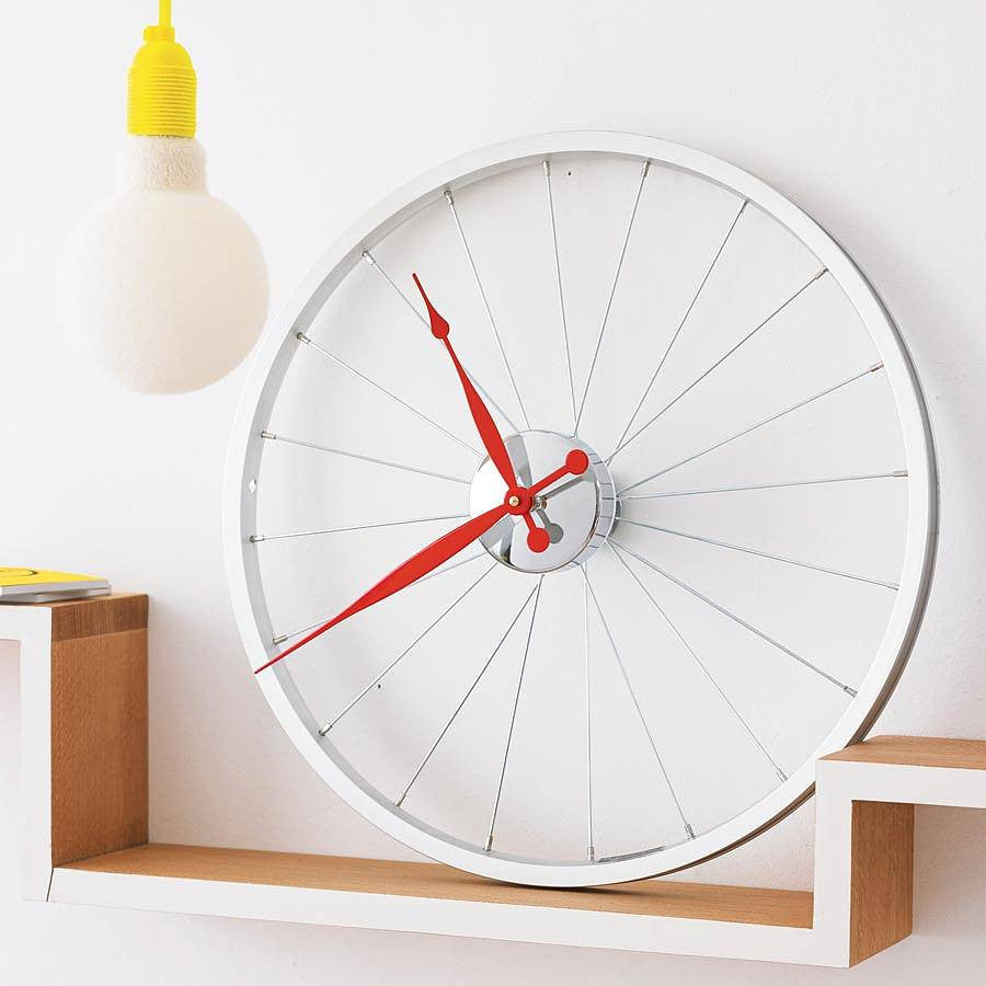 Bike wheel clock small Red