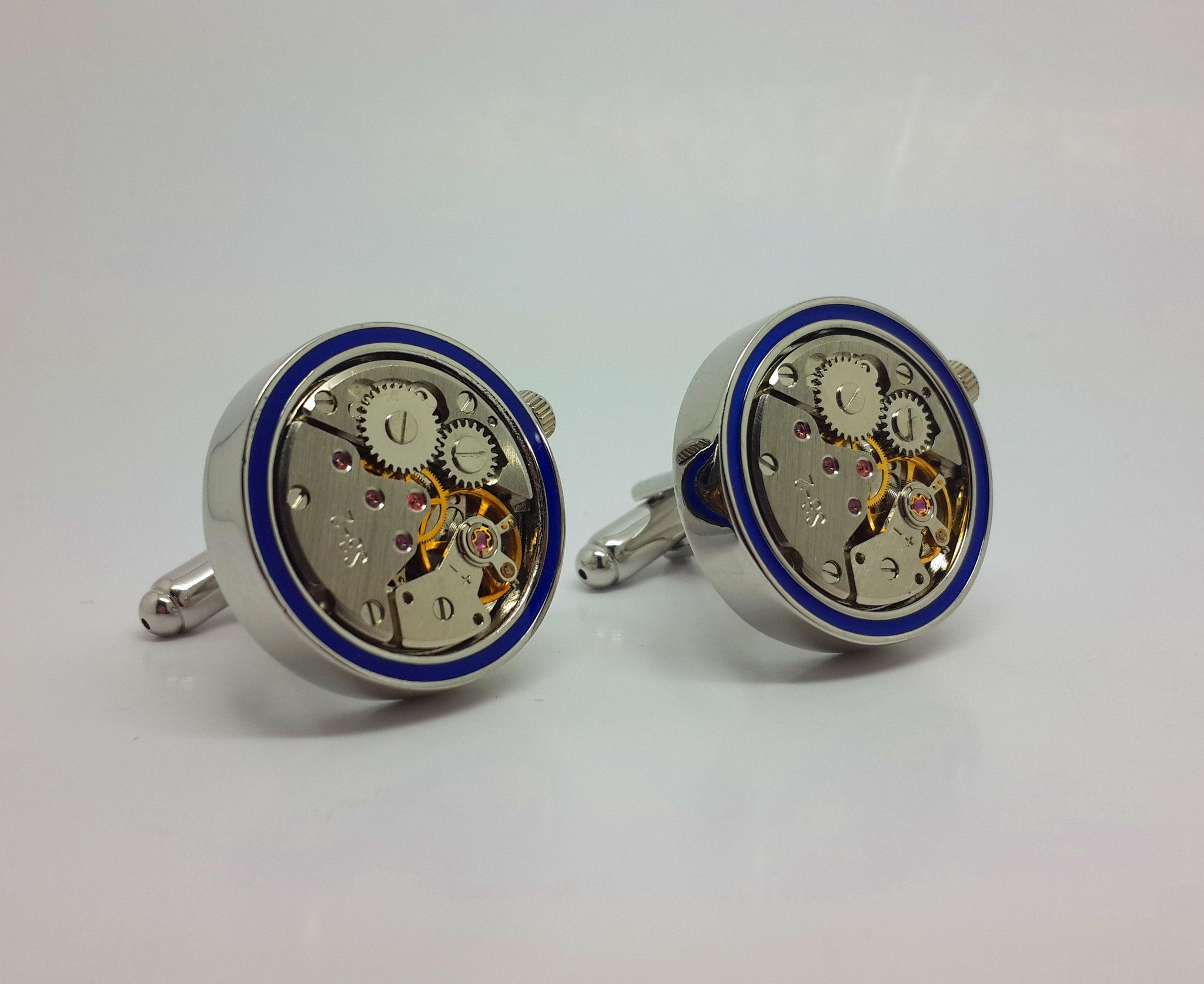 Clockwork Cufflinks With Real Moving Parts Blue Rim