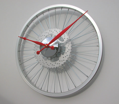 Silver Sprocket Bike Wheel Clock 45cm
