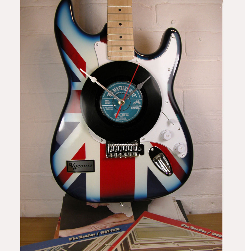 Union Jack Upcycled Guitar clock with Personalised record