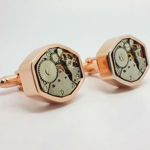 Decorative Clockwork Cufflinks Polygon In Rose Finish