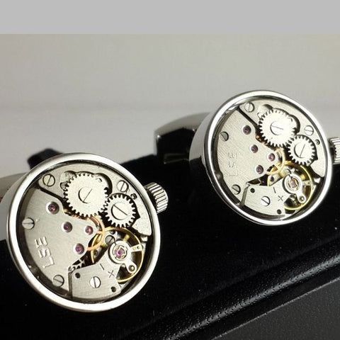 Clockwork Cufflinks With Real Moving Parts