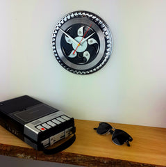 Black And Silver Chainring Bike Clock
