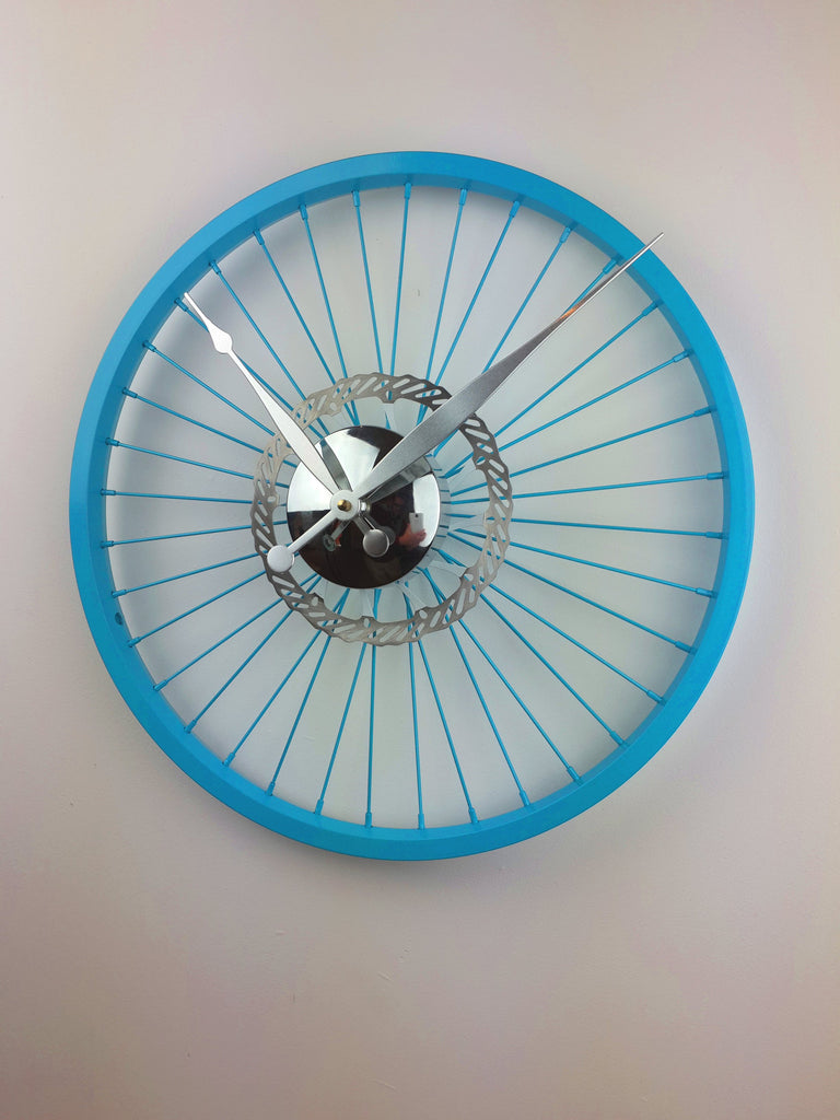 Blue Bike Wheel Clock With Brake Disc