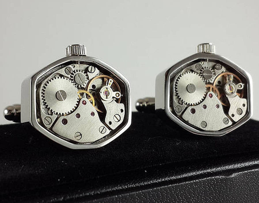 Clockwork Cufflinks With Moving Parts
