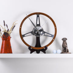 Classic car polished wooden steering wheel clock - wall mounted or desk option