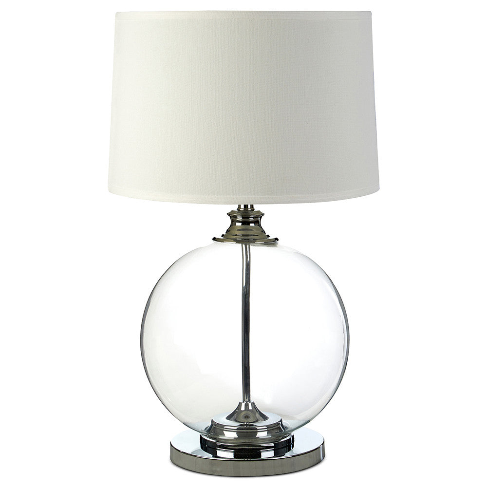 Circle Glass Table Lamp Base with White Linen Shade