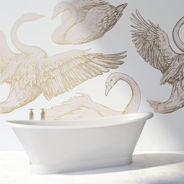 Swans in Flight Mural - (sold by the m2)