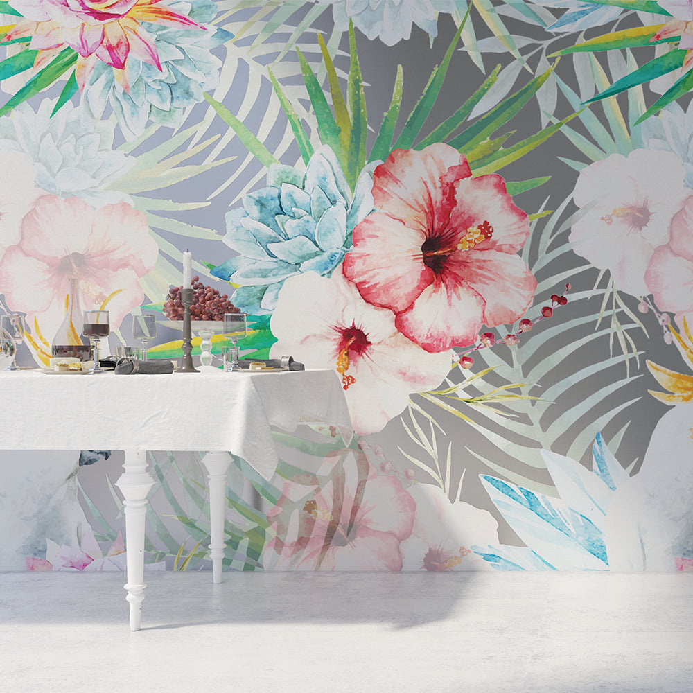 Tropical Flower Mural (sold by the m2)
