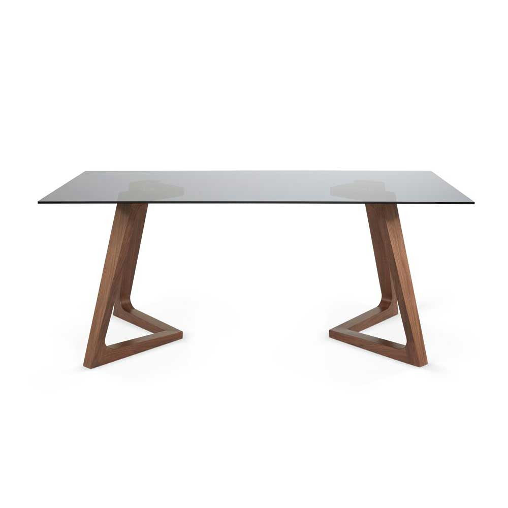 Barcelona Glass Table  - Walnut