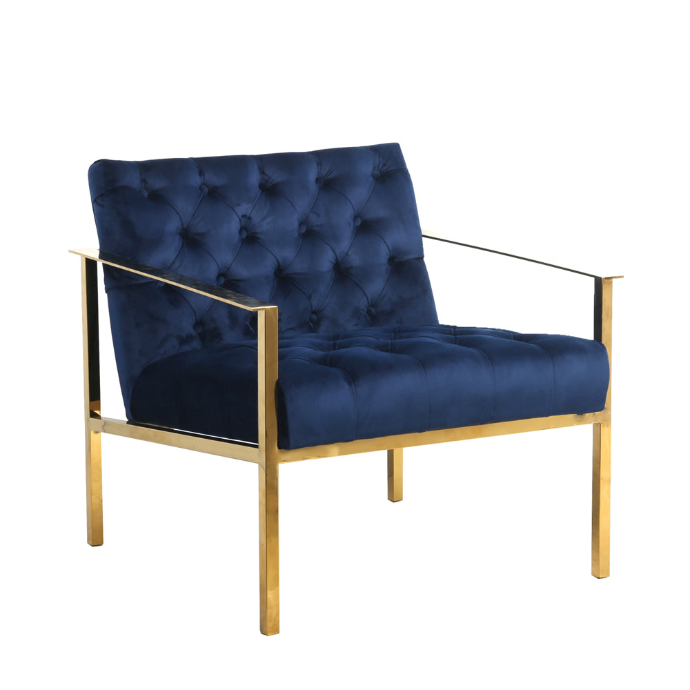 Navy velvet and Gold Metal Framed Chair