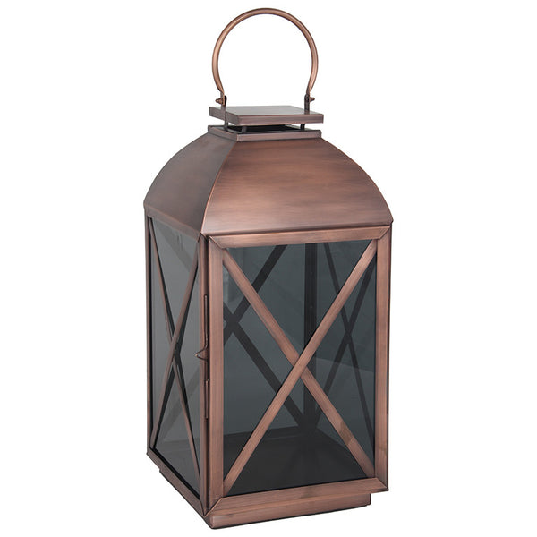 Copper and Smoked Glass Lantern (l)
