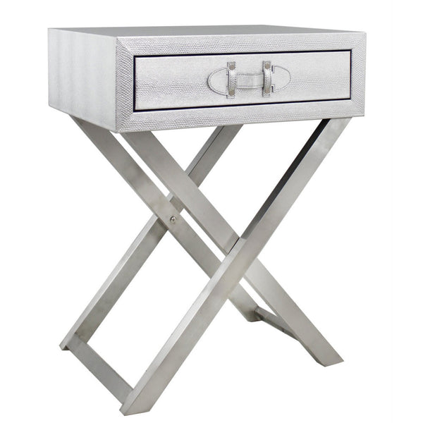Silver Embossed Moc Croc Side Table