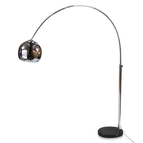 Arco Style Lamp in Chrome with Black Marble Base