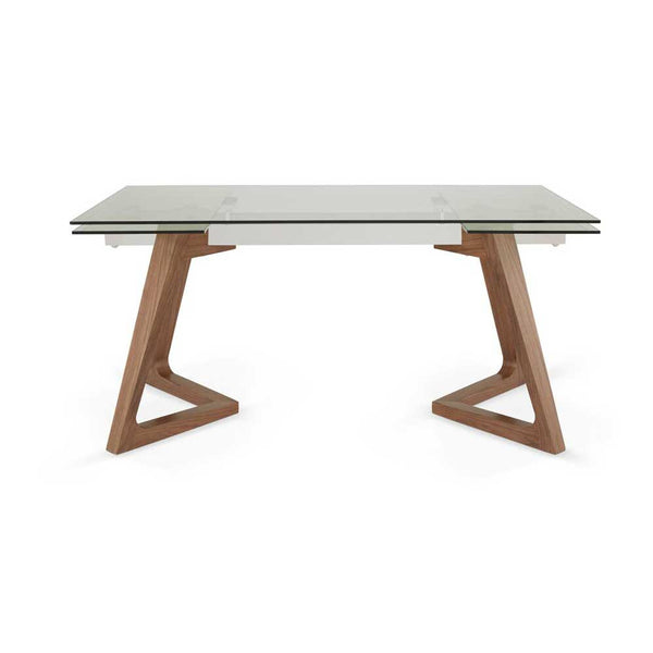 Barcelona Extended Glass Table -Walnut