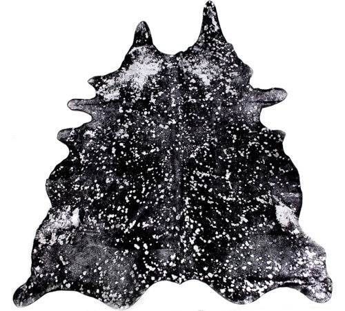 Metallic Cowhide Rug in Black
