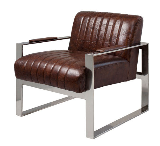 Industrial Leather Chair in Rich Brown