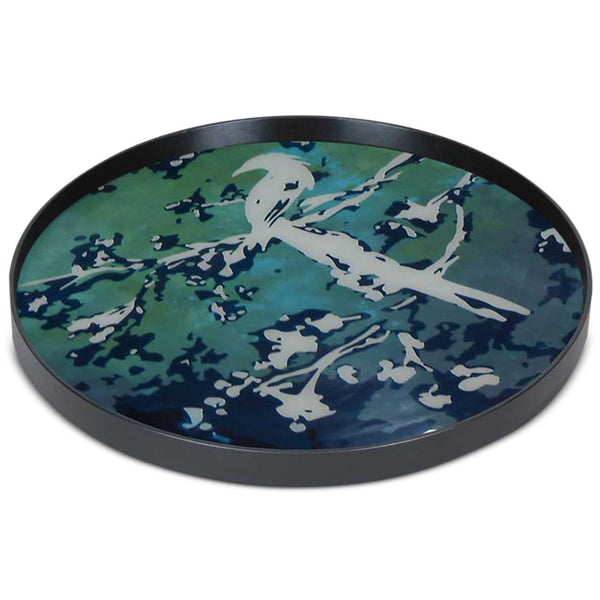 Bird Painted Glass Tray - Large