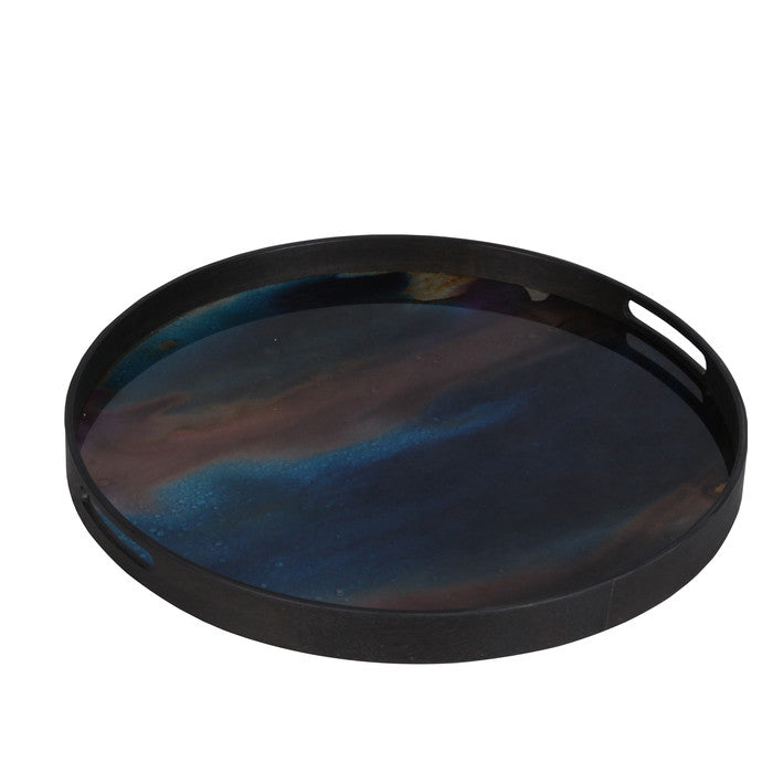 Indigo Mirrored Tray  - Small