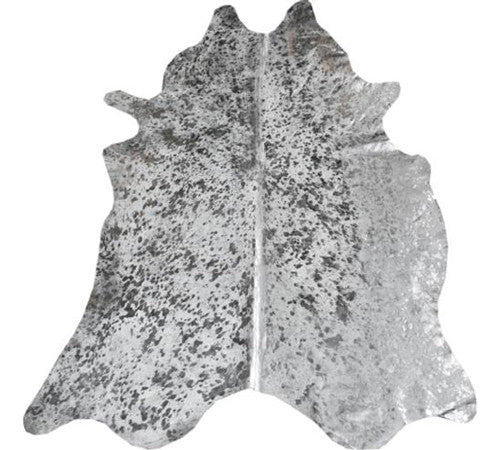 Metallic Cowhide Rug in White