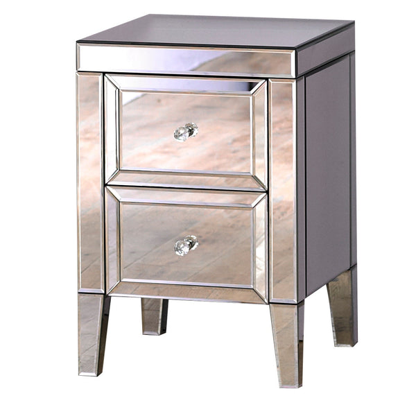 Venetian Mirrored 2 Drawer Bedside