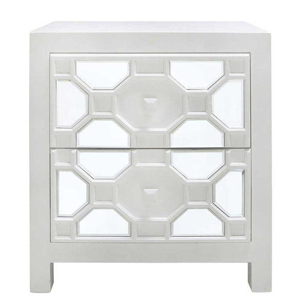 white wooden geometric mirrored bedside