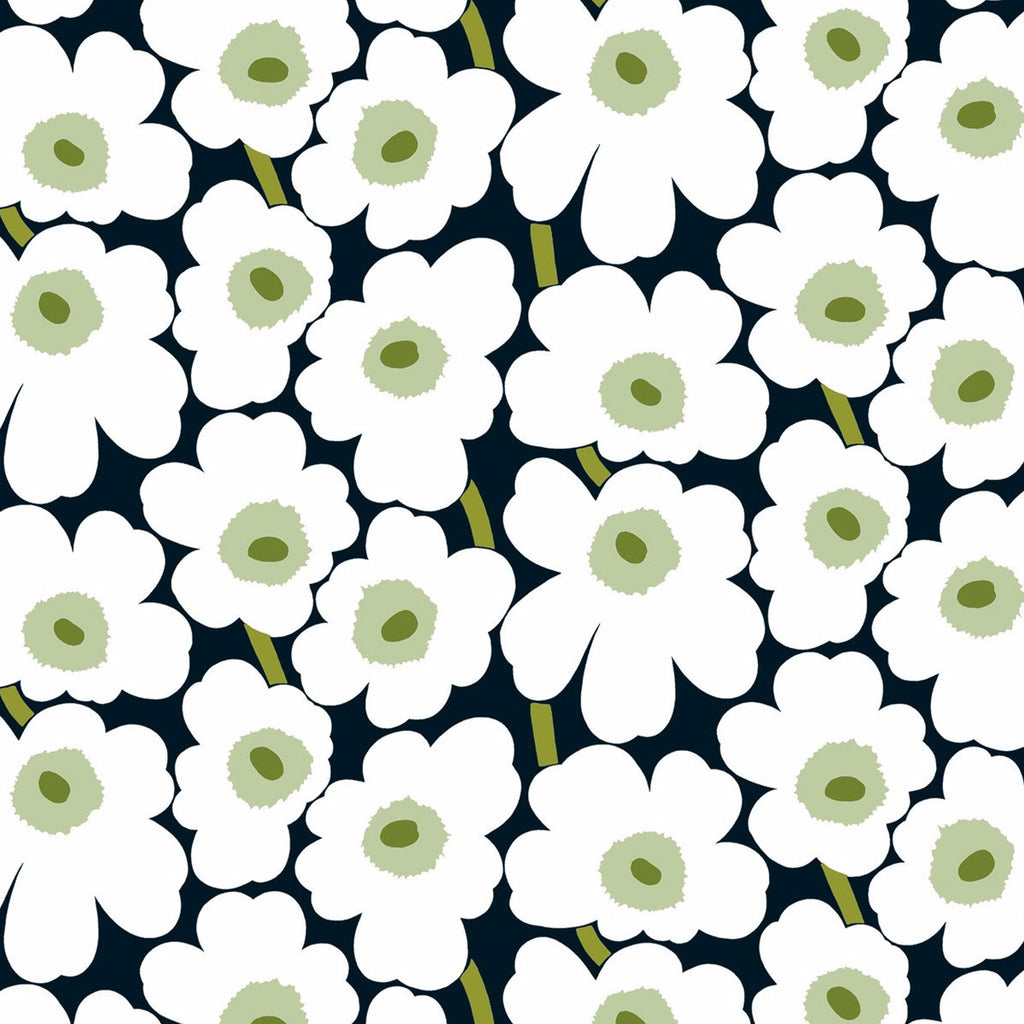 Unikko White Flowers on Black Background Oilcloth