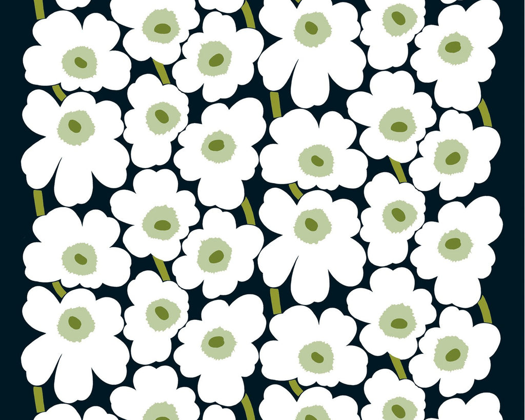Unikko White Flowers on Black Background Oilcloth Remnant 136 x 80cm