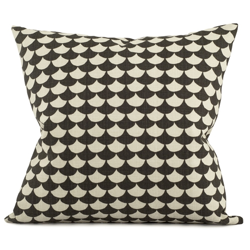Waves Black 50x50cm Cotton Cushion Cover