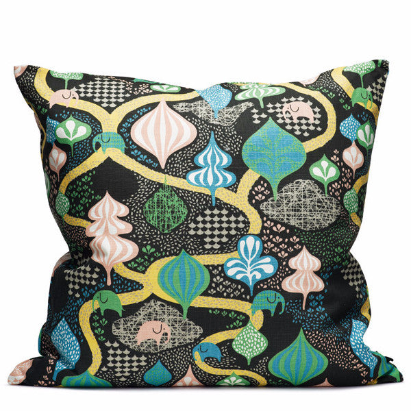 Saga Forest Black/Multi 65x65cm Cotton Cushion Cover