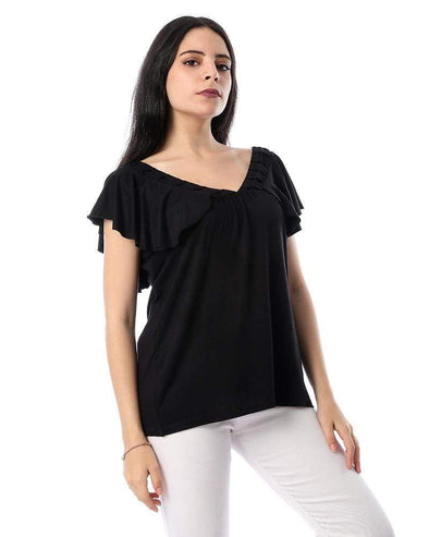Deep V-neck Ruffle Sleeves Top