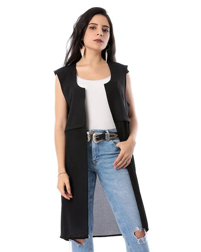 Long Plain Sleeveless Cardigan كارديجان بدون أكمام - Dockland