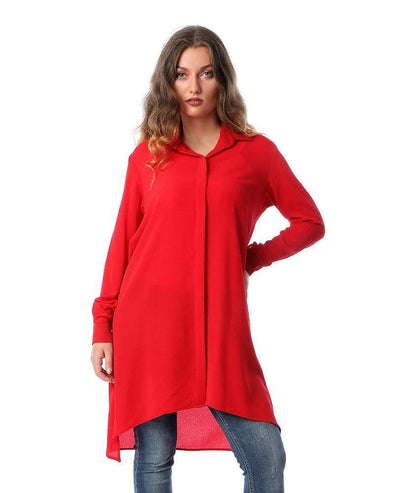 Turn Down Collar Long Shirt-Red - Dockland
