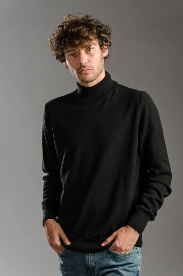 Turtleneck Plain Blended Cotton Sweater-Black  ستره بياقه عاليه ساده - Dockland